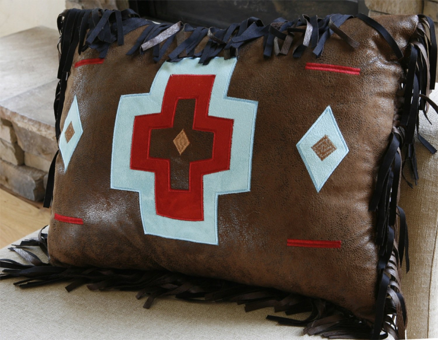 Turquoise Chamarro Brown Cross Pillow Carstens - unique linens online