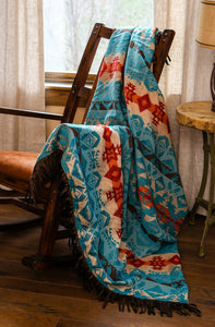 Turquoise Chamarro Throw Carstens - Unique Linens Online