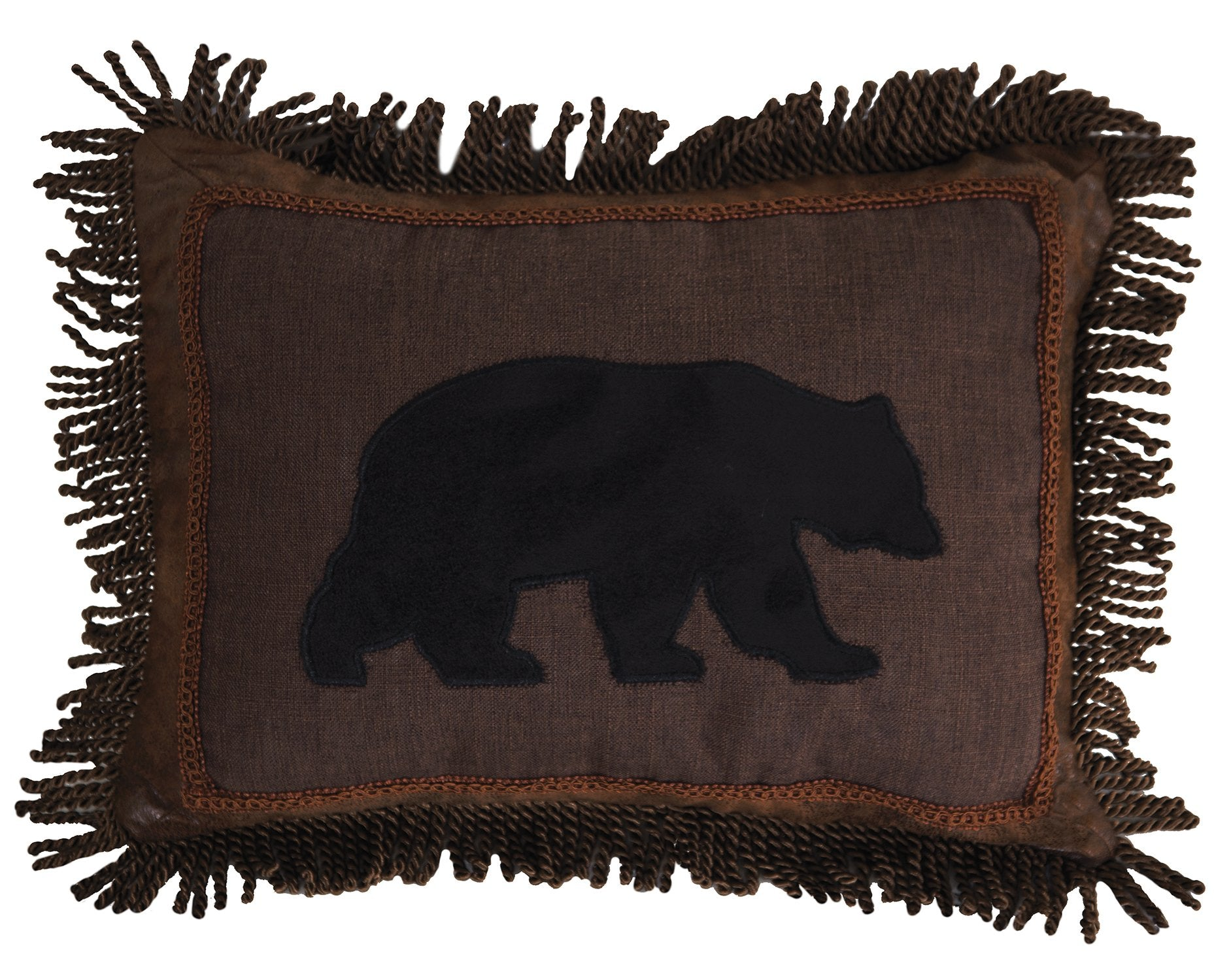 Black Bear Fringe Pillow Carstens - unique linens online