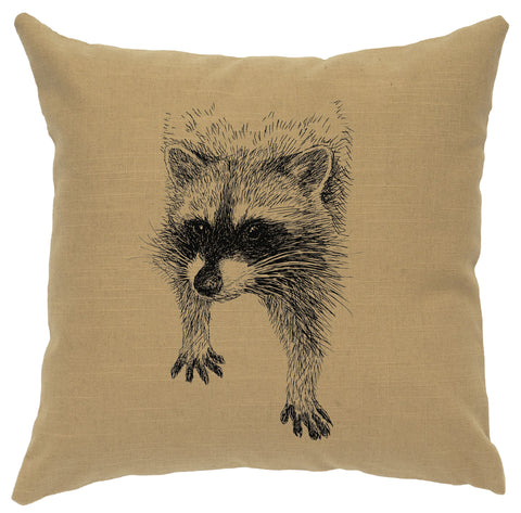 Racoon Decorative Linen Pillow Wooded River - Unique Linens Online