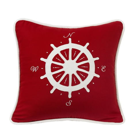 Compass Nautical Red Pillow HiEnd Accents - unique linens online