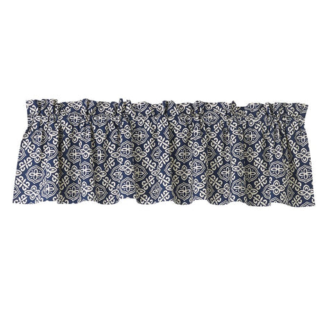 Bold Navy and White Pattern Valance HiEnd Accents - unique linens online
