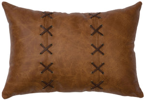 Leather Pillow Wooded River WD80245 - unique linens online