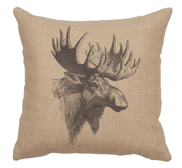 Linen Moose Profile Pillow Wooded River - unique linens online