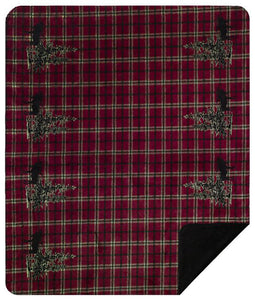 Moose Plaid Border Denali Blanket - unique linens online