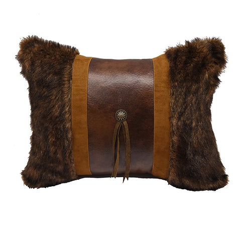 Faux fur Concho Oblong Pillow HiEnd Accents - unique linens online