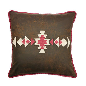 Brighton Embroidered Decorative Faux Leather Pillow - unique linens online