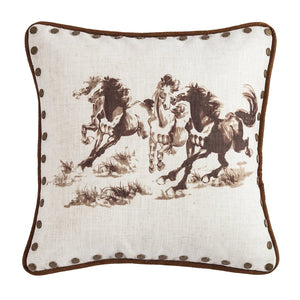 Printed Chocolate Horses Pillow HiEnd Accents - unique linens online