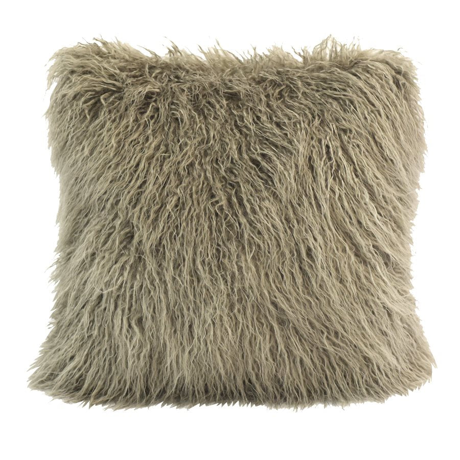 Mongolian Faux Fur Pillow (Taupe) - unique linens online