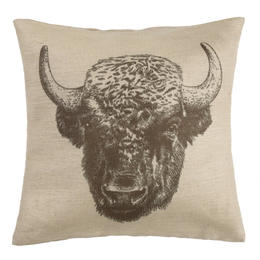 Buffalo Head Burlap Pillow - unique linens online