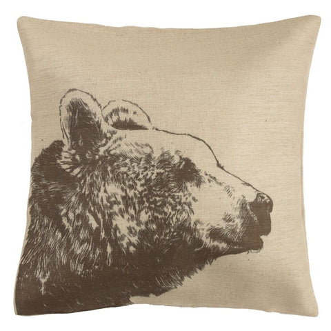 Bear Head Burlap Pillow - unique linens online