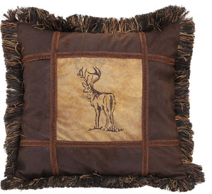 Embroidered Buck Autumn Trails Pillow Carstens - unique linens online