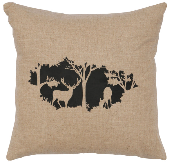 Timber Deer Decorative Linen Pillow Wooded River - unique linens online