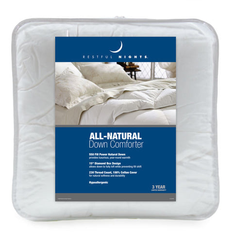 Restful Nights® All Natural Down Comforter - Unique Linens Online