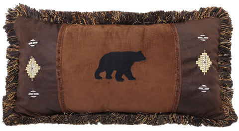 Autumn Trails Bear and Diamond Pillow Carstens - unique linens online