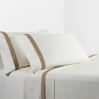 Cream Sheet Set with Tan Flange - unique linens online