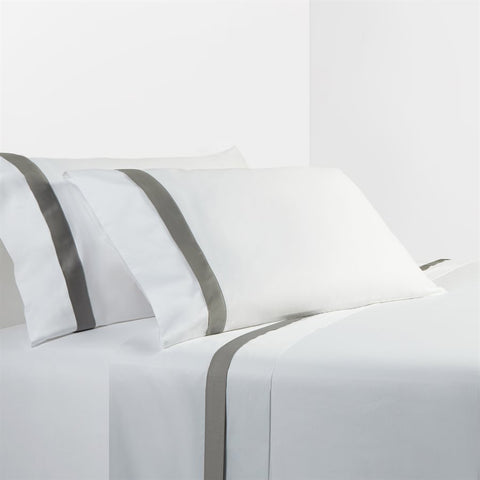 White Sheet Set with Gray Flange - unique linens online