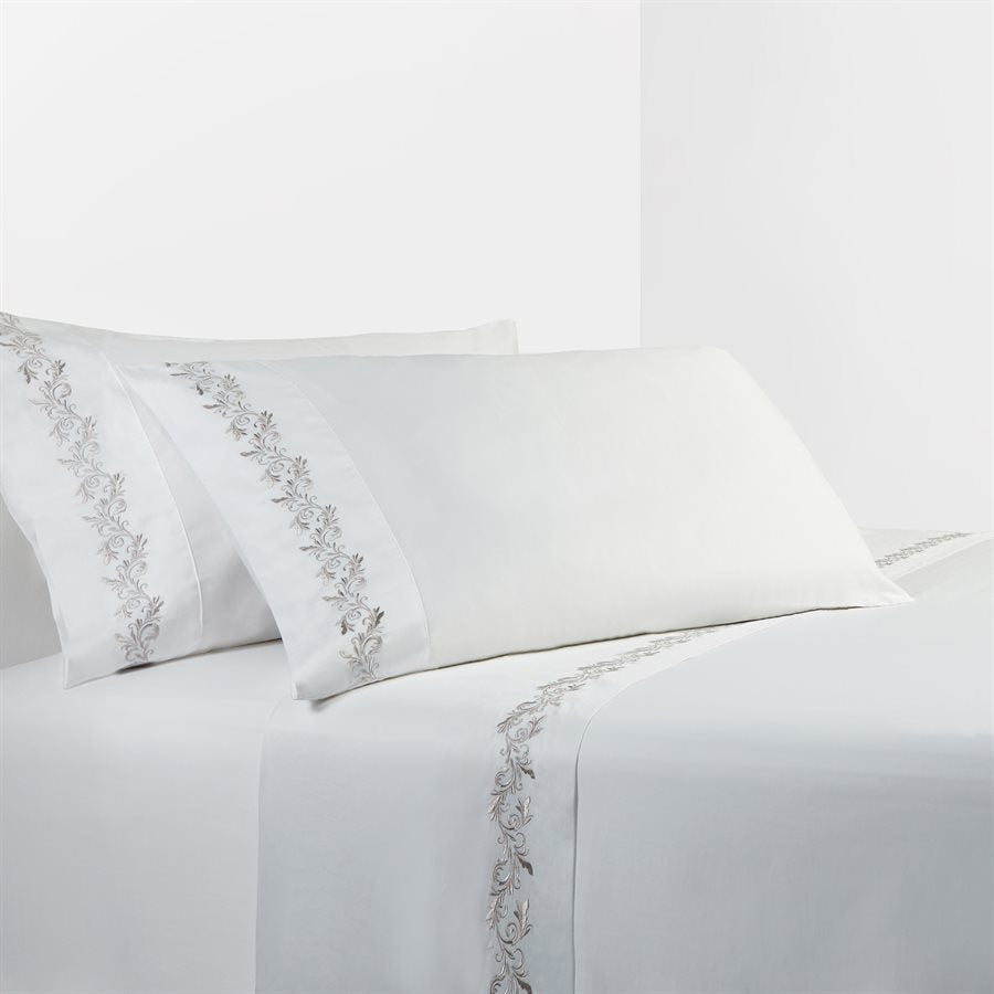 White Sheet Set with Gray Scroll Embroidery - unique linens online