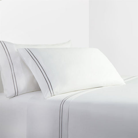 White Sheet Set with Grey Stripe Embroidery - Unique Linens Online
