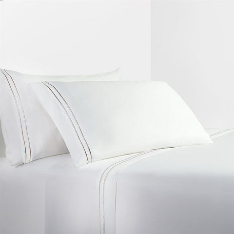 White Sheet Set with Taupe Stripe Embroidery - Unique Linens Online