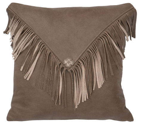 Leather Pillow Wooded River WD80257 - unique linens online