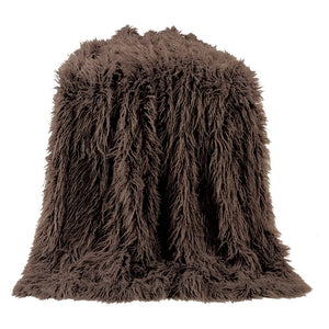 Mongolian Faux Fur Throw (Chocolate) - unique linens online
