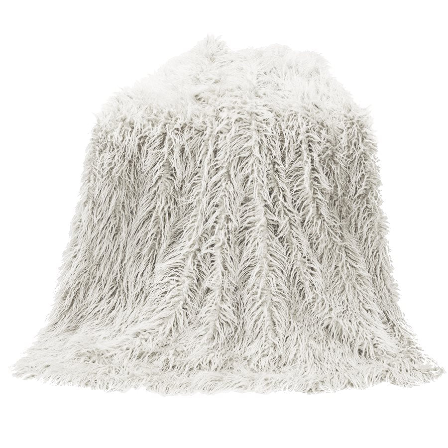 Mongolian Faux Fur Throw (White) - unique linens online