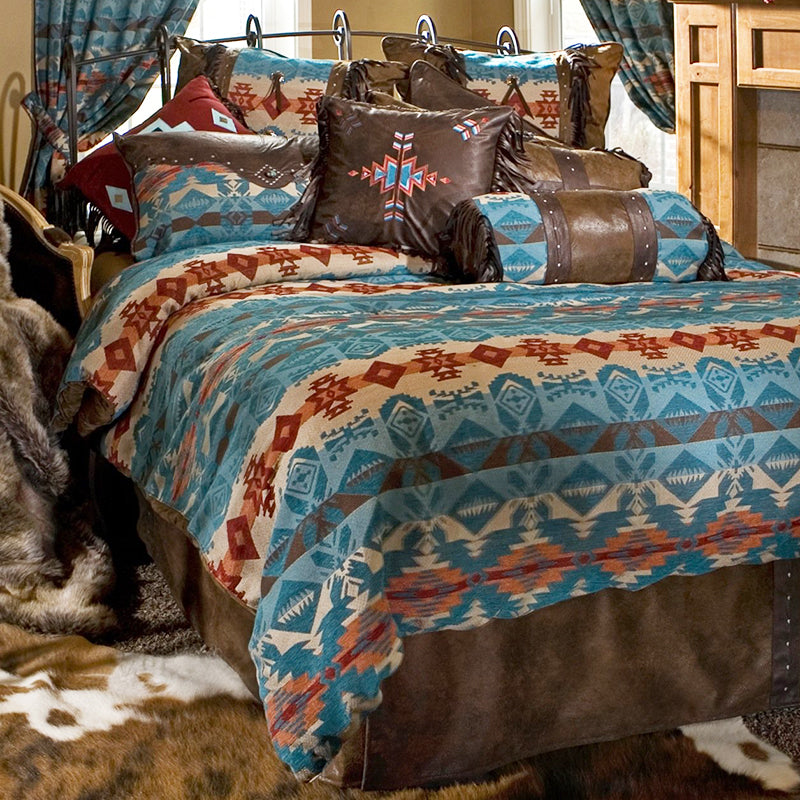 Turquoise Chamarro Comforter Set Collection Carstens - unique linens online