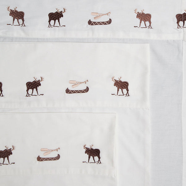 Embroidered Moose Sheets Carstens - unique linens online