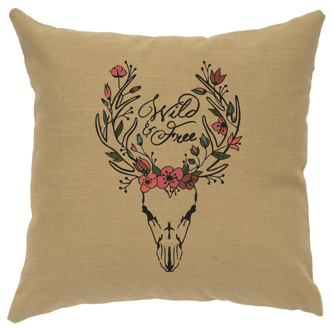 Boho Deer Decorative Linen Pillow Wooded River - unique linens online