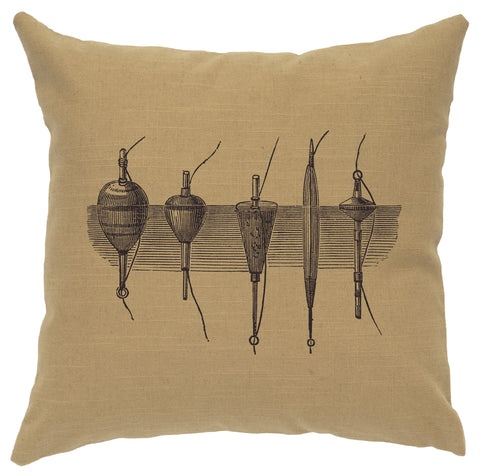 Bobbers Decorative Linen Pillow Wooded River - Unique Linens Online