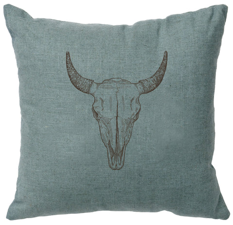 Bull Skull Decorative Linen Pillow Wooded River - Unique Linens Online