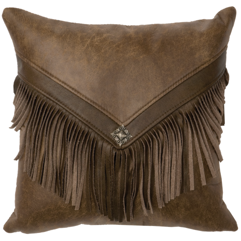 Cascada Faux Leather Pillow Wooded River