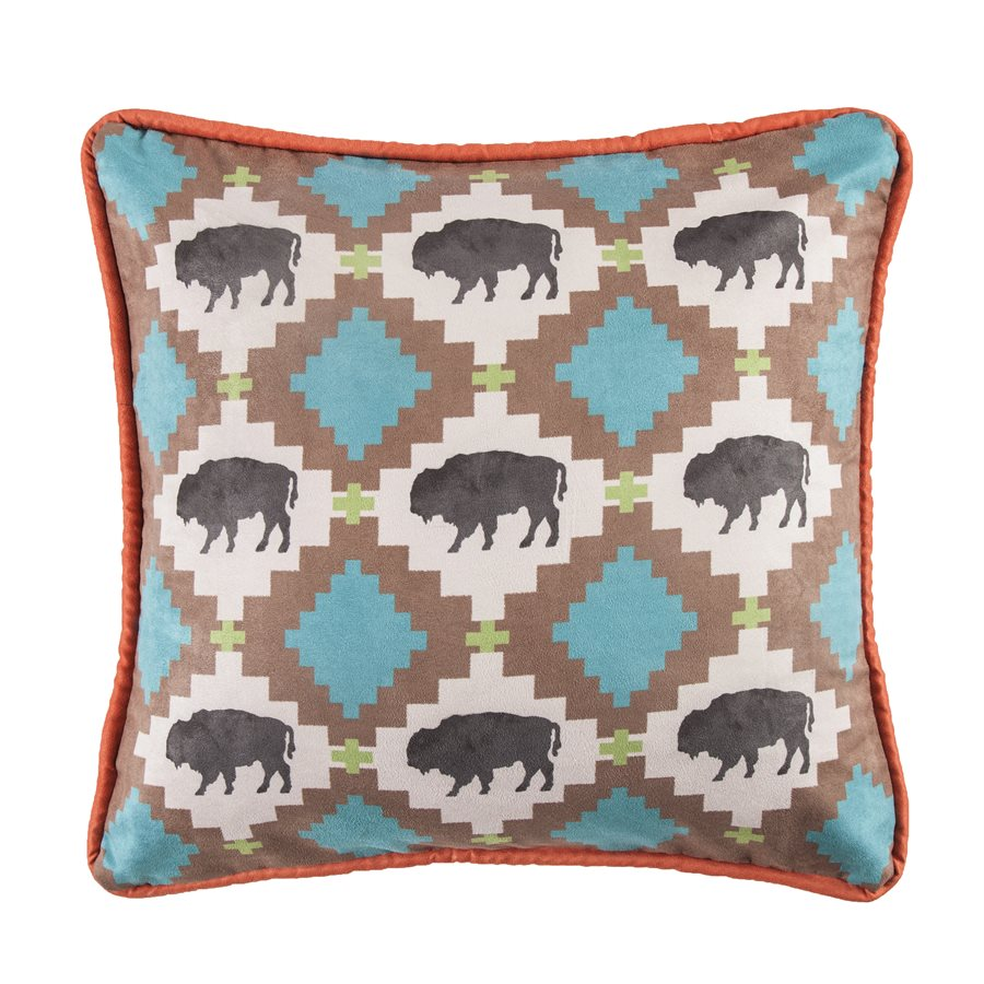 Colorful Buffalo Pillow HiEnd Accents - unique linens online