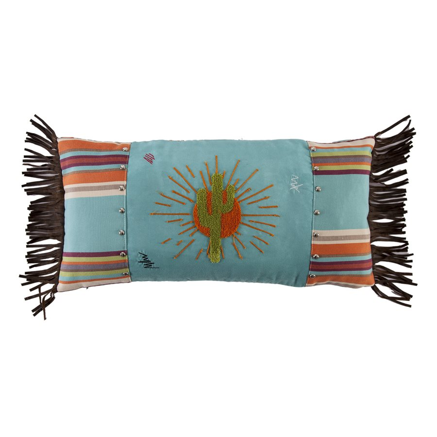 Embroidered Yellow Cactus Pillow HiEnd Accents - unique linens online