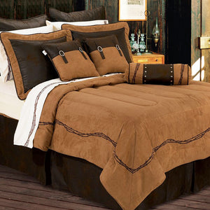 Barbwire Tan and Chocolate Comforter Sets HiEnd Accents - unique linens online
