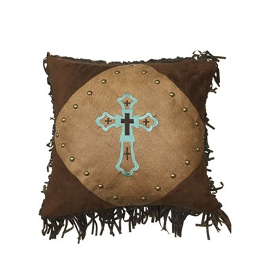 Cross Faux Leather Accent Pillow HiEnd Accents - unique linens online