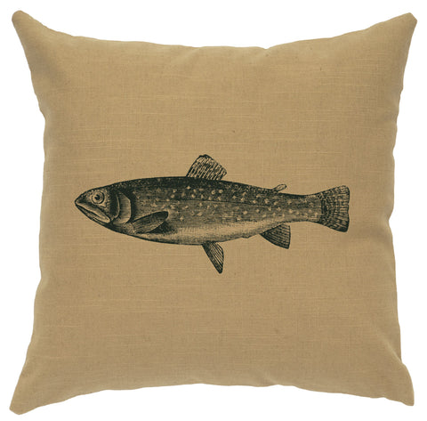 Trout Decorative Linen Pillow Wooded River - Unique Linens Online