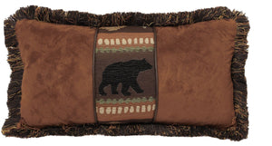 Autumn Trails Bear and Chestnut Pillow Carstens - unique linens online
