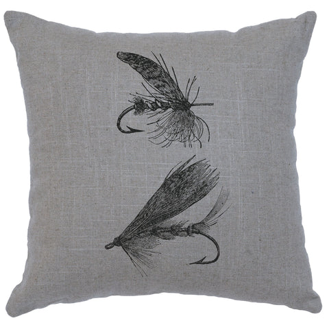 Flies Decorative Linen Pillow Wooded River - Unique Linens Online