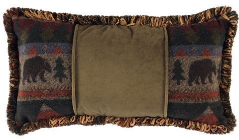 Cabin Bear Oblong Pillow Wooded River - unique linens online