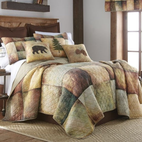 Wood Patch Cotton Quilt Set - unique linens online