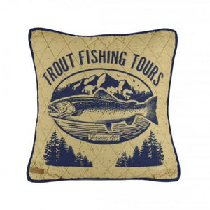 Lakehouse Trout Pillow - unique linens online