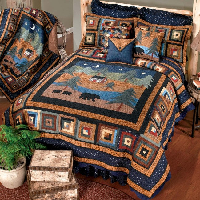 Midnight Bear Cotton Quilt Set - unique linens online