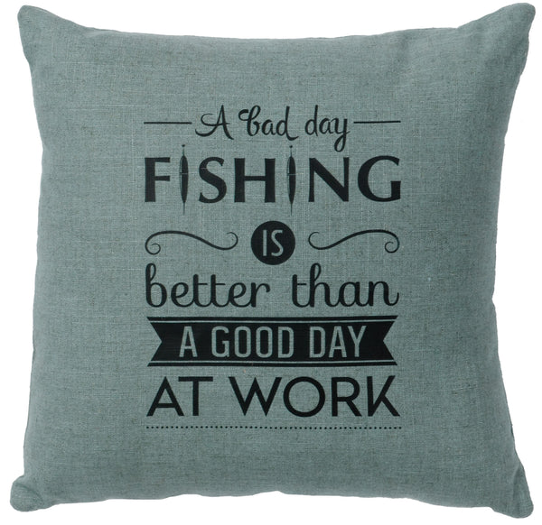 Fishing Day Decorative Linen Pillow Wooded River - unique linens online