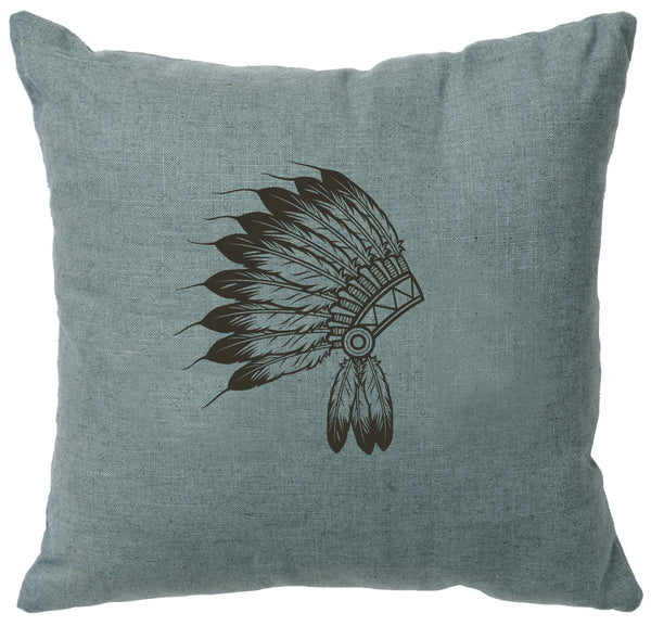 Headdress Decorative Linen Pillow Wooded River - unique linens online