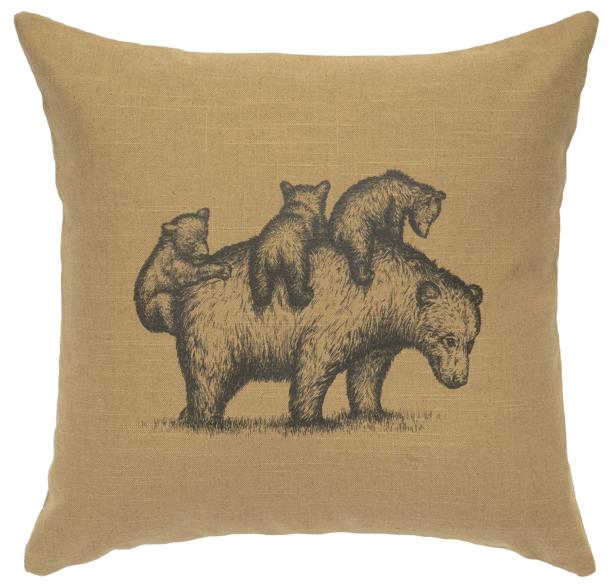 Mama Bear Decorative Linen Pillow Wooded River - unique linens online