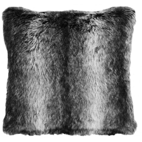 Black Wolf Faux Fur Pillow Carstens - unique linens online
