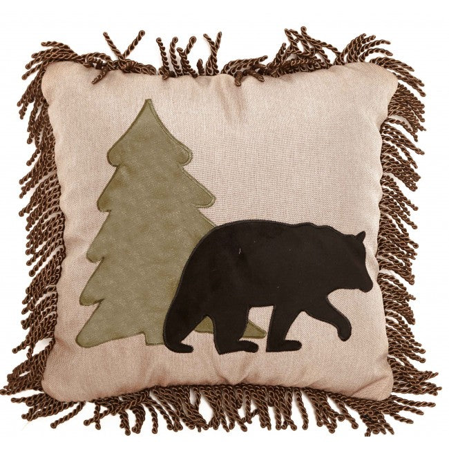 Tall Pine Bear and Tree Pillow Carstens - unique linens online