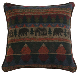 Cabin Bear Pillow Wooded River - unique linens online